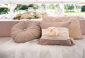 Taupe wedding pillows at lounge