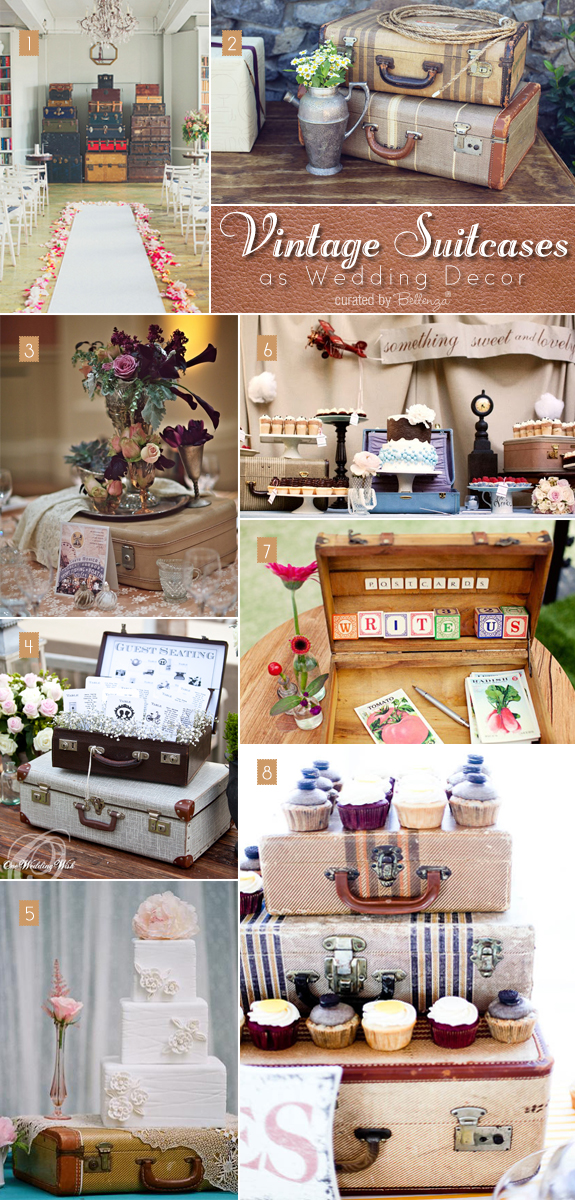 Ideas for how to use vintage suitcases at weddings
