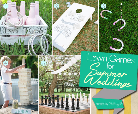 Wedding lawn games such as ring toss, horseshoe toss, giant jenga, and giant chess