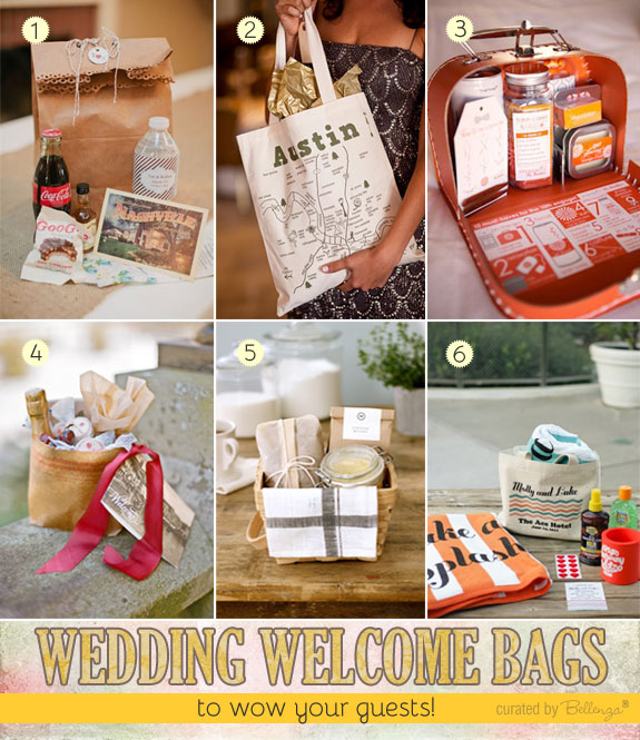 Ideas for creating wedding welcome bags or OOT gift bags for a destination wedding