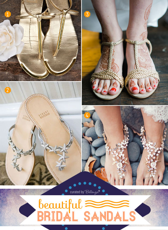 Bridal sandals for beach weddings from styles with straps to barefoot.