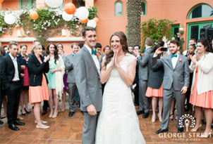 California wedding in teal and coral