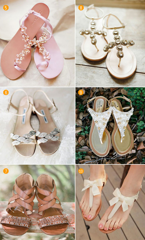 Chic bridal sandals for a garden-inspired wedding. Includes styles with straps, bows, and floral accents.
