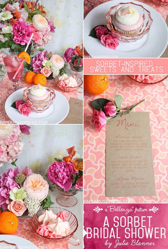 Elegant desserts for a sorbet bridal shower such as meringues, cupcakes, and pink drinks with pretty floral decorations.