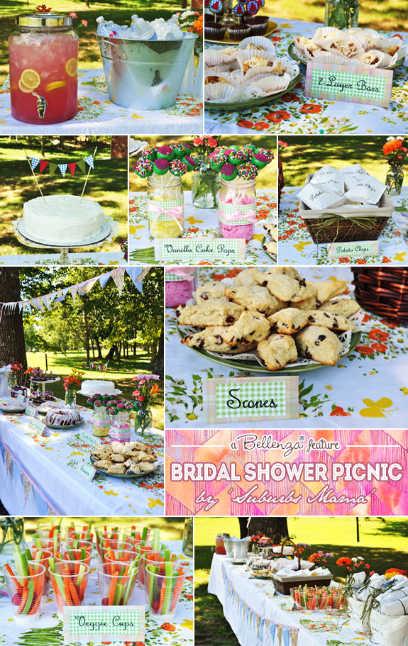 A backyard summer picnic for a  bridal shower by Suburbs Mama | Featured on the Wedding Bistro at Bellenza