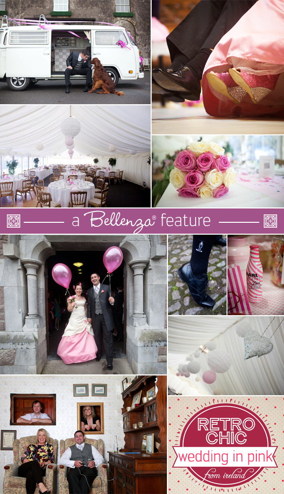 Retro pink wedding feature with fun and chic details from Ireland | Featured on the Wedding Bistro at Bellenza