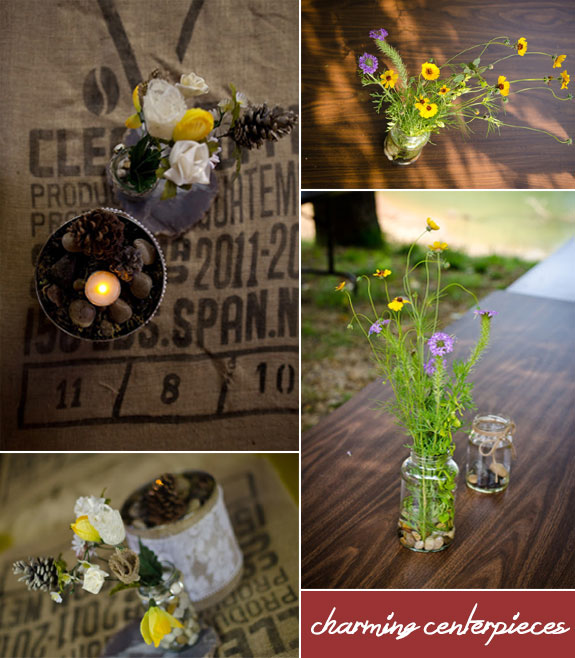 Rustic diy wedding flower centerpieces by Let's Drink Coffee, Darling as featured by Bellenza