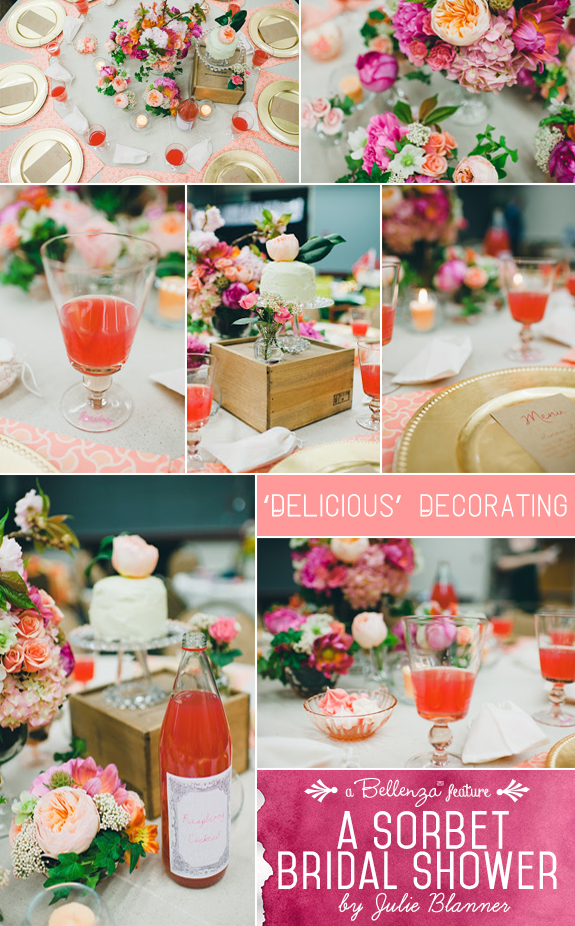 Sorbet themed bridal shower feature in pastel tones of pink, peach, coral, and orange by Julie Blanner.