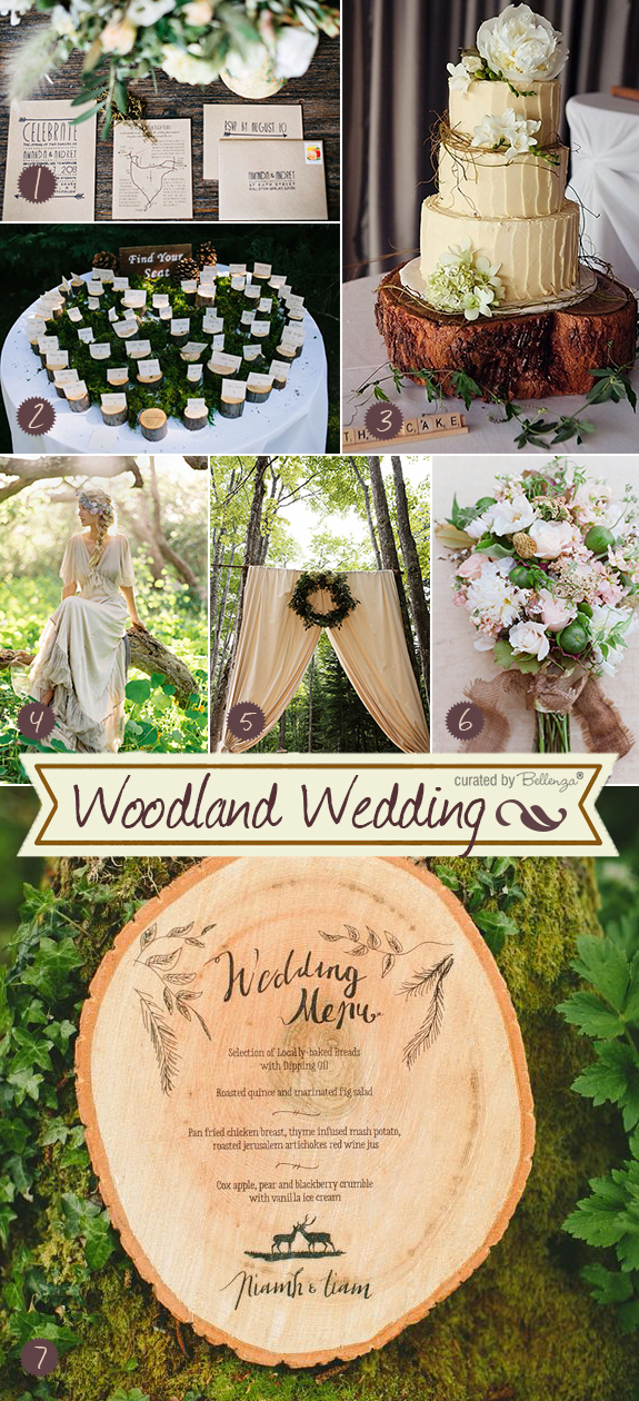 Elegant woodland weddings inspiration board from a rustic cake to a menu on a cut wooden slab in a palette of neutral colors