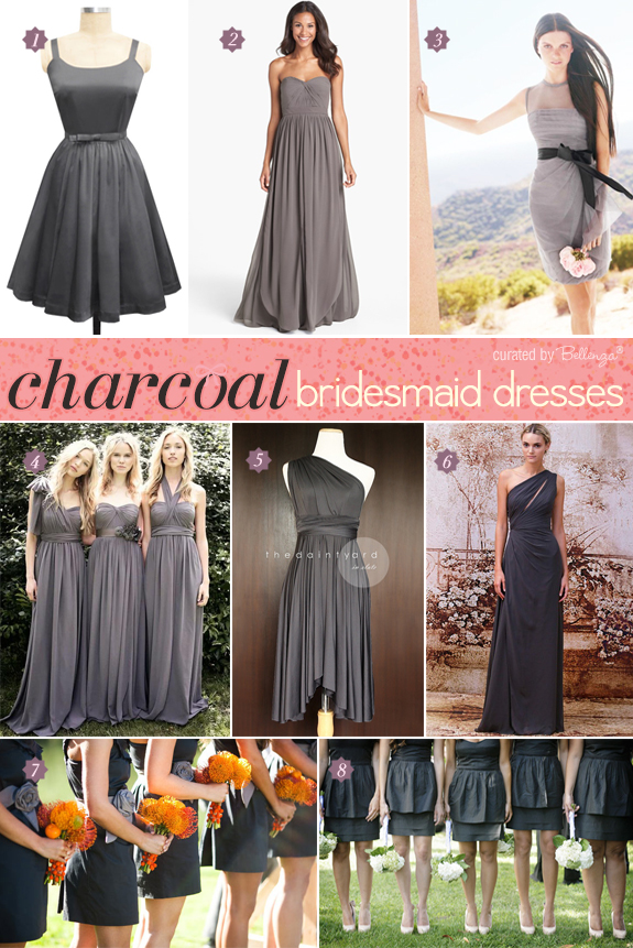 Stylish charcoal bridesmaid dresses from asymmetrical to retro to mini-length skirts to strapless bodices.