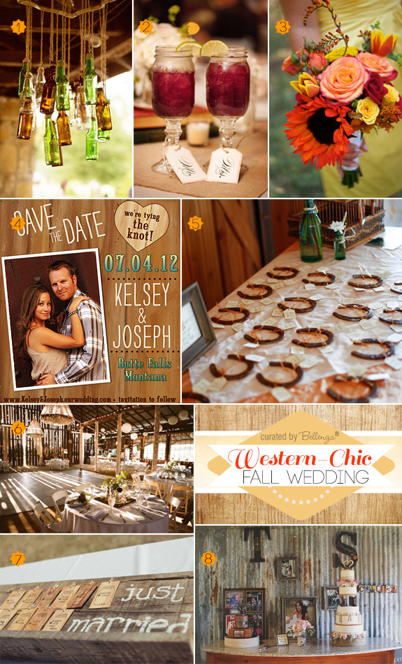 Ideas for a chic fall country wedding with from the ceremony to the reception with horseshoe favors to mason jars
