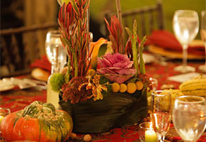 Fall Centerpiece with Vegetables and Orchids