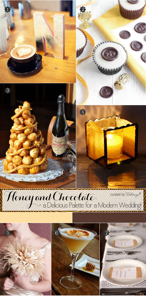 Honey and chocolate inspiration in beautiful brown hues for a modern wedding from croquembuche to feather bouquet to honey infused cocktails.