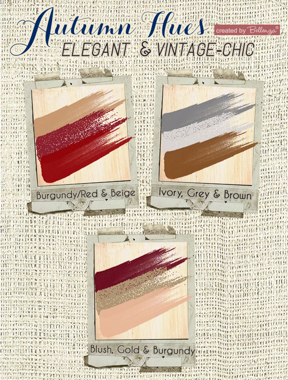 Hues for a vintage wedding in color combinations of red, burgundy, blush, gray, and crimson.