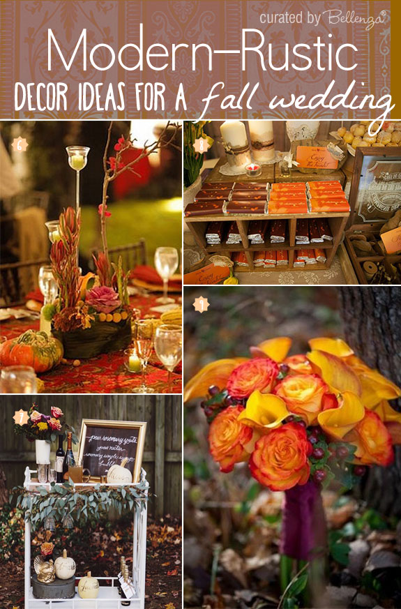 Contemporary Fall Wedding Decorations From A Welcome Wine Cart to a Brilliant Bouquet in Chic Fall Hues