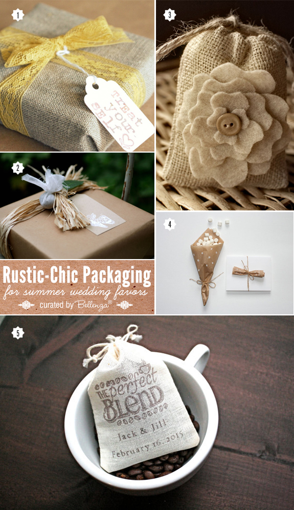 Rustic chic favor packaging ideas from fabrics like muslin and burlap to simple kraft paper trimmed with pretty accents.