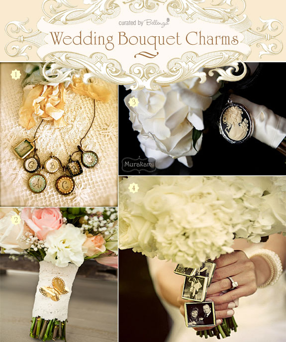 Personalize your wedding bouquet with charms that are sentimental from photo accents to cameos to heirloom jewel pieces.