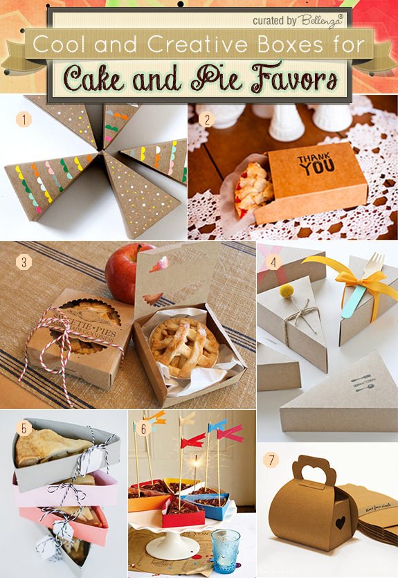 Chic cake boxes for packaging cakes and pies as favors.
