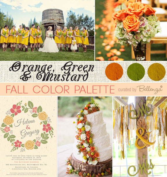 Orange, Moss Green , and Mustard Yellow Color Palette for a Fall Wedding in a Rustic, Modern Style.