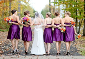 Purple bridesmaids dresses, Carley Rehberg Photography, via Heart Love Weddings