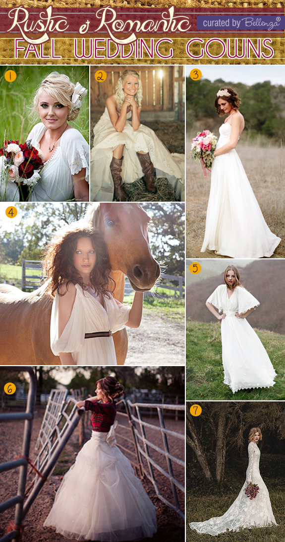 Bridal gowns for rustic fall weddings from vintage to boho styles.