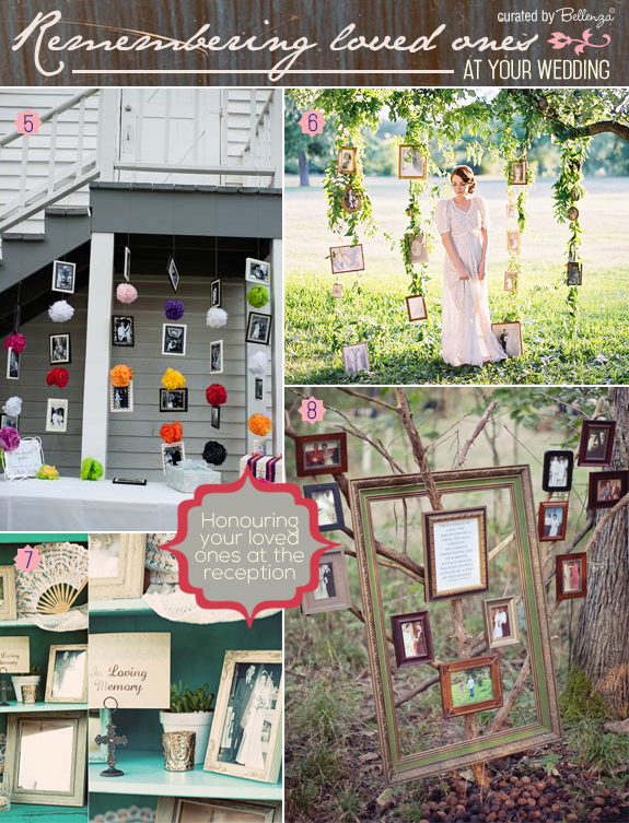 Unique ways to pay tribute to loved ones at a wedding from displaying frames on shelves to hanging photo frames on trees.