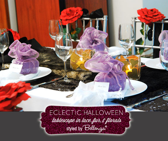 Eclectic Halloween table setting in a palette of black, red, and touches of lilac by Bellenza