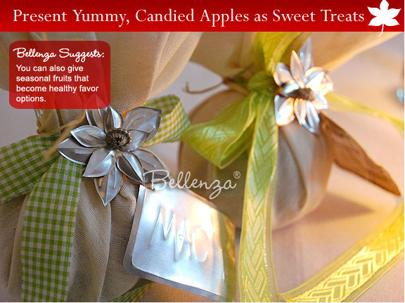 Salted caramels in burlap bags finished with chic tags and green ribbons