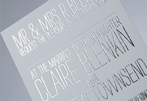 Modern foil silver wedding invitations by Andrew Townsend