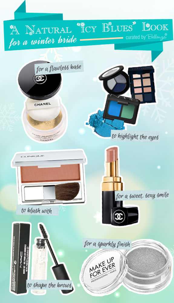 Beauty tips and finds for an icy blues winter look with glitter and glam by Bellenza