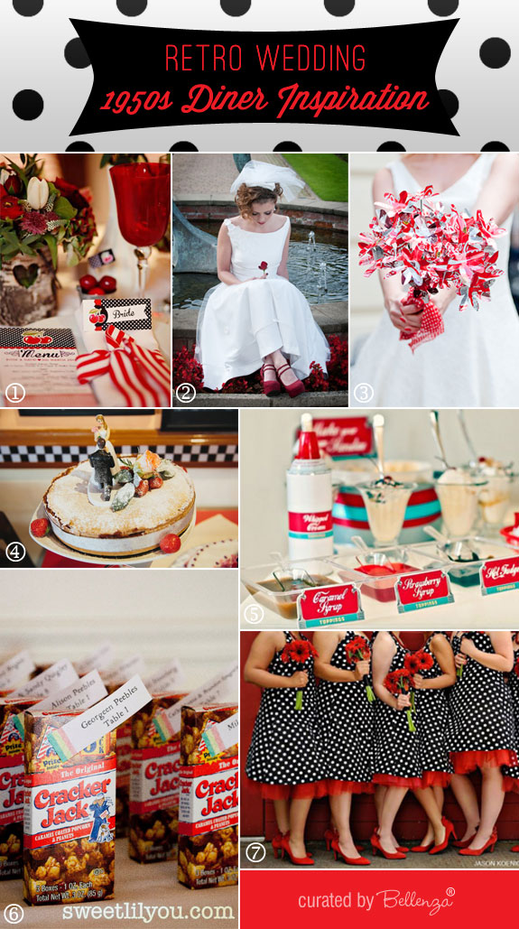 Retro 1950 diner wedding theme inspiration board by Bellenza