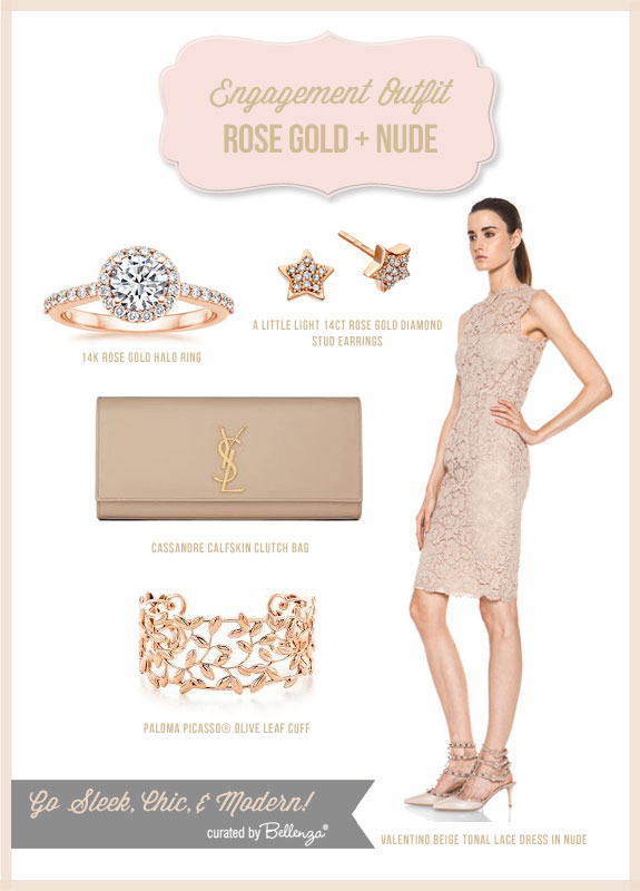Inspiration board for a rose gold and nude palette with rose stud earrings, a halo diamond ring, cream clutch bag, cuff bracelet, and a beige lace dress.