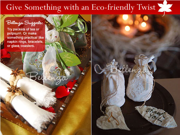 Rustic style favor bags with potpourri mix as favors for a wedding