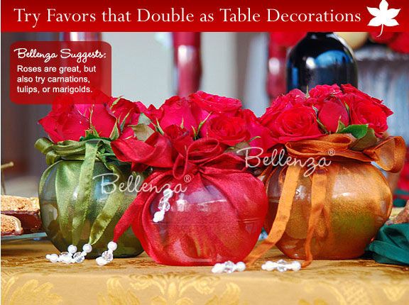 Rustic centerpieces with glamorous elements in colors of olive green, red, and copper gold