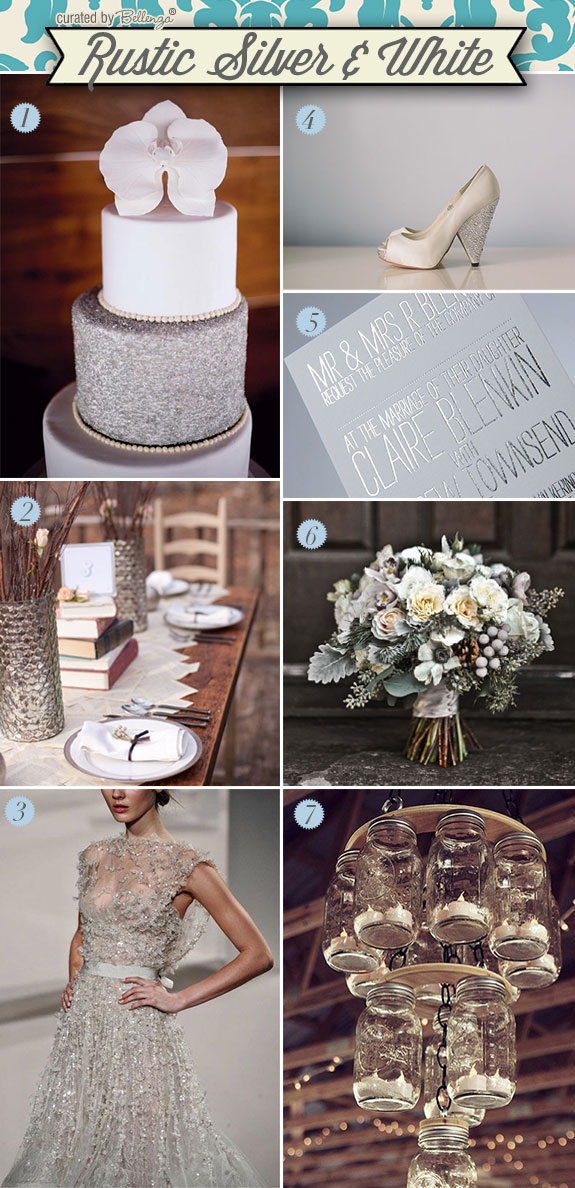 A rustic industrial winter wedding with silver and white elements such as glass, wood, and metal
