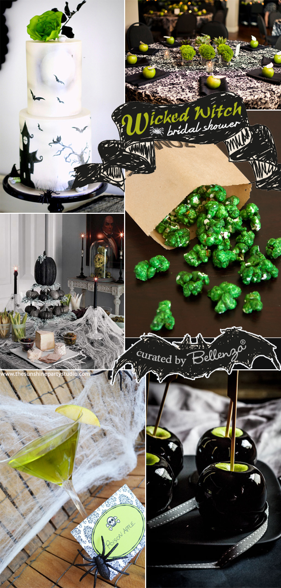 A lime green and black wicked themed bridal shower with a damask table setting, a whimsical cake, and black toffee poison apples!