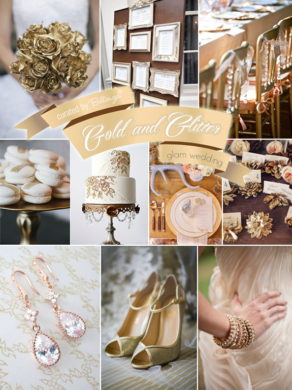 Winter wedding in sparkling glitter and gold