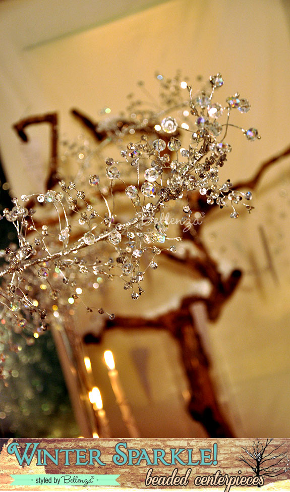 Clear beaded branches housed in glass cylinders | Bellenza winter wedding styled shoot