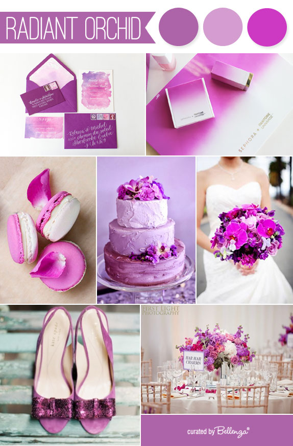 Radiant orchid wedding inspiration board - 2014 Pantone color of the year