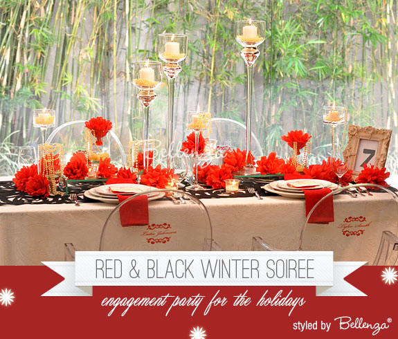 A red and black engagement soiree with decorating tips, favor ideas, food and drinks, and fun activities by Bellenza