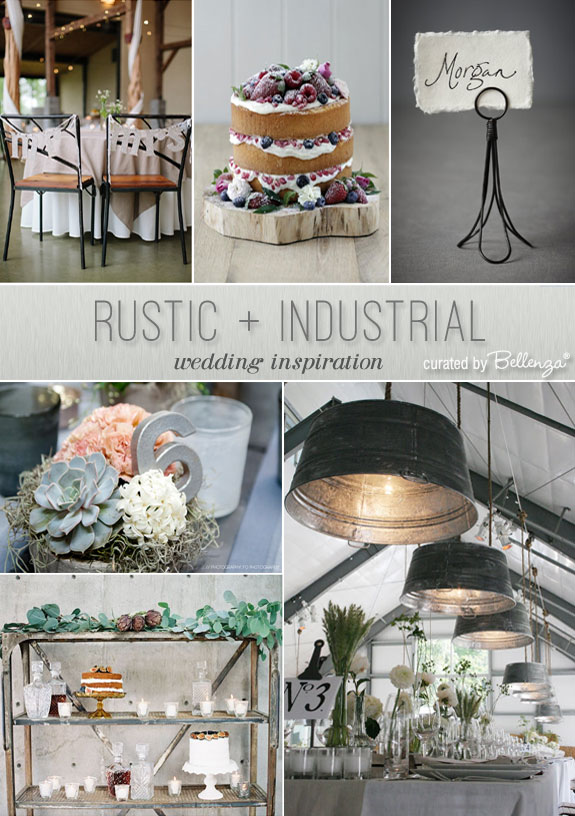 Rustic industrial wedding inspiration with galvanized ceiling wash tubs, wooden crates, and wire card holders.