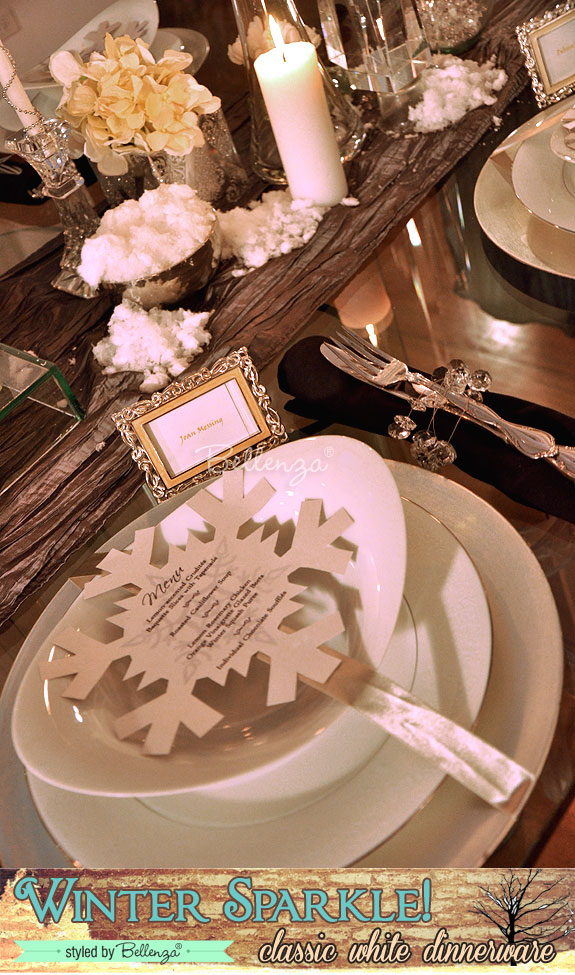 Winter place settings with favors and menu card