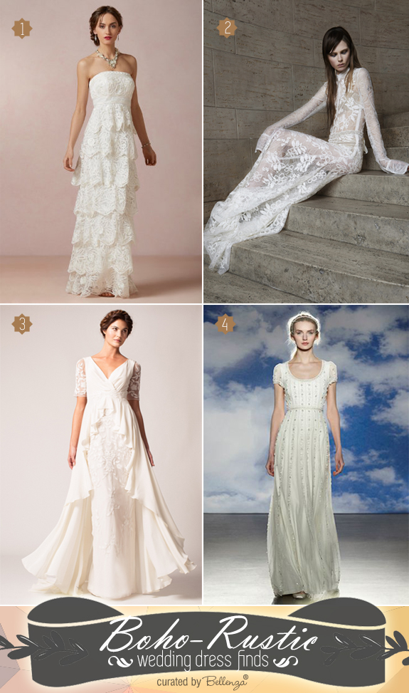 Boho wedding dress styles for 2015 with BHLDN, Vera Wang, Temperley London, and Jenny Packham