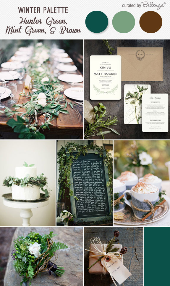 Winter wedding with rustic hues in hunter green, mint green, and brown. Includes a leafy table setting, bridal bouquet, and hot chocolate tray.