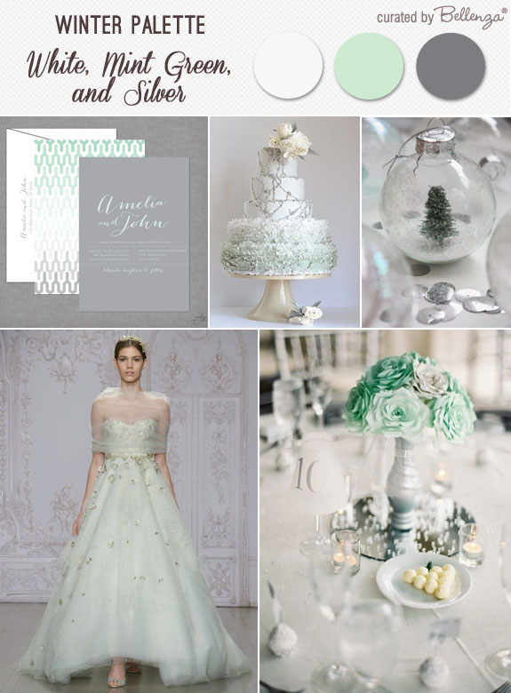 A mint green silver and white winter wedding with modern details from an ombre cake to snow globe favors!