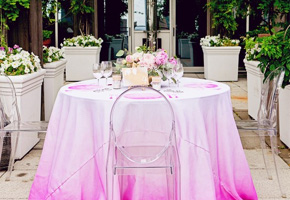 Pink ombre tablecloth via Always a Blogsmaid and Heather Waraksa Photography