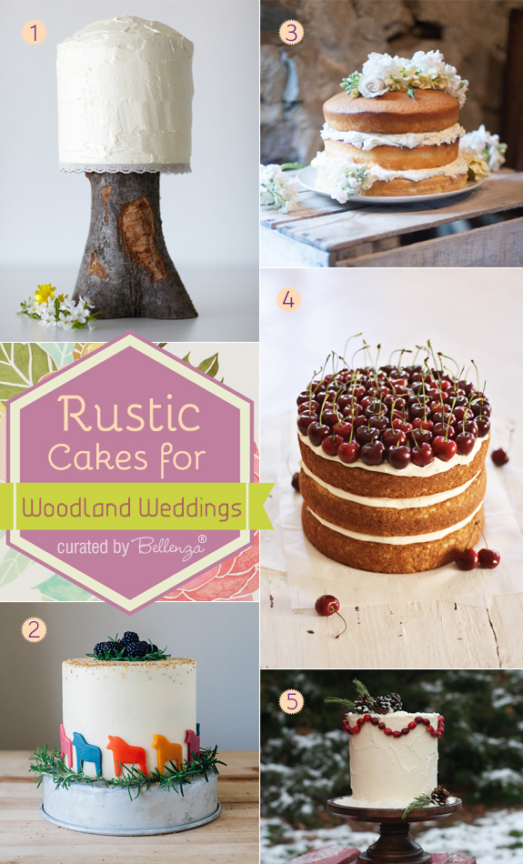 Rustic wedding cakes that are DIY from tall layered cakes to naked cakes to basic frosted cakes decorated with woodland accents.