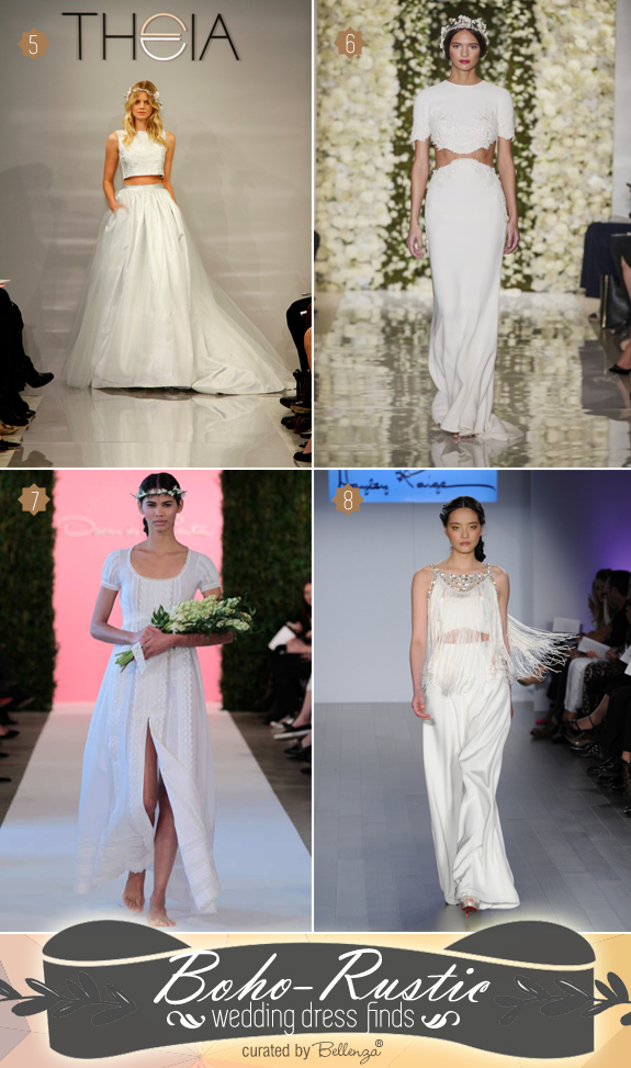Boho wedding dress styles for 2015 with with Theia, Reem Acra, Oscar de la Renta, and Hayley Paige