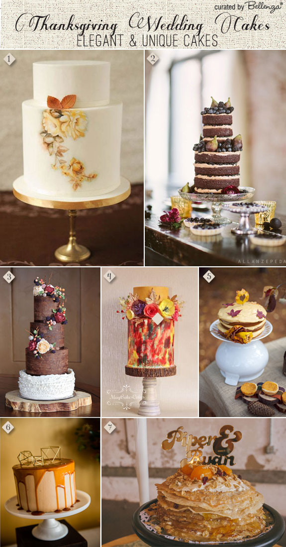 Elegant Thanksgiving wedding cakes with handpainting, ruffles, naked cakes, crepe cakes, and pumpkin spice cakes.