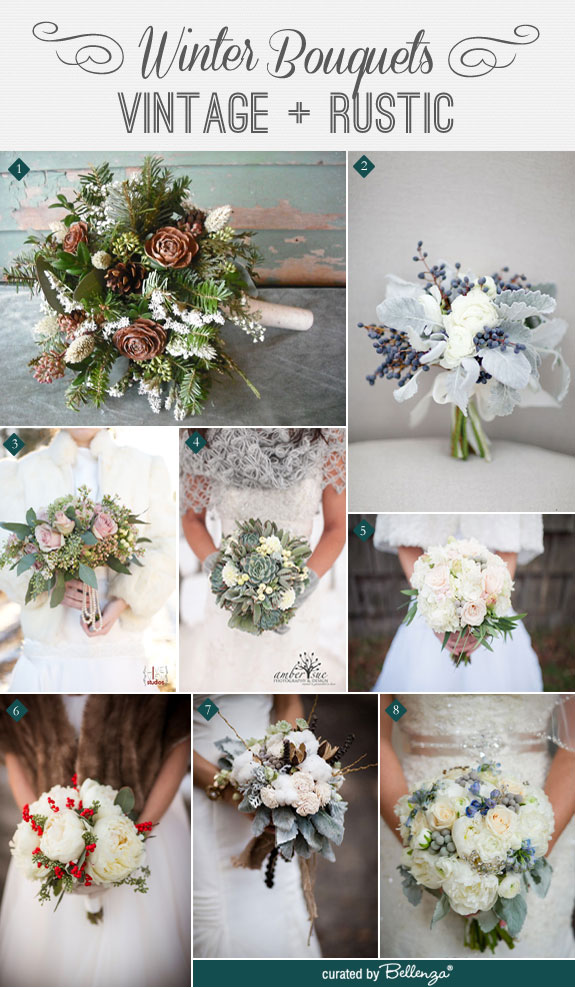 Winter bouquets that are vintage and rustic with dusty miller, eucalyptus, cotton, pinecones, and other winter flowers.